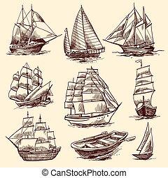 barcos, bosquejo, conjunto, barcos