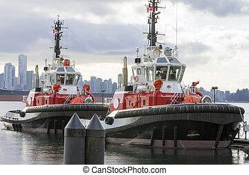barcos del tirón, en, vancouver, ac, puerto