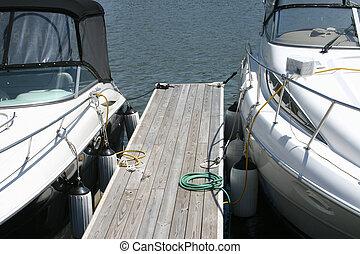 barcos, dos, motor