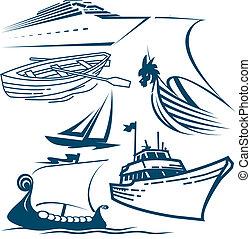 barcos, e, navios