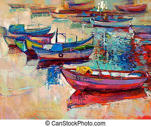 barcos, e, oceânicos