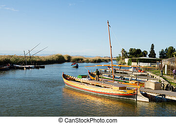 barcos, em, albufera, valença, espanha