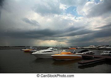 barcos, em, porto