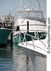 barcos, em, um, marina