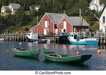 barcos, en, bahía