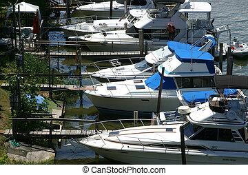 barcos, en, el, puerto deportivo