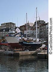 barcos, en, muelle seco