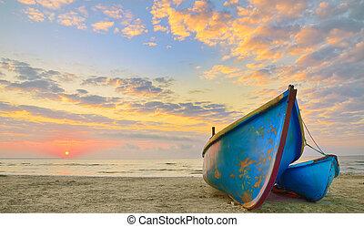barcos, en, salida del sol, tiempo