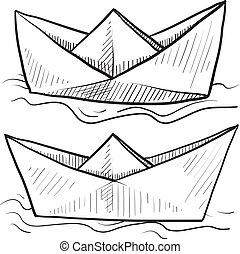 barcos, esboço, papel