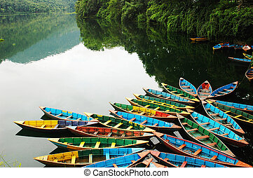 barcos, lakeside, excursão, coloridos