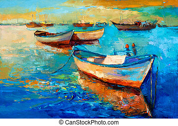 barcos, ligado, pôr do sol