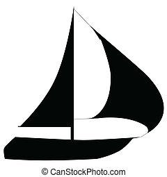 barcos, ligado, um, branca, experiência.