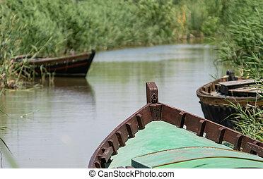 barcos, muchos, no, entrar, canal, gente, de madera