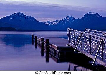 barcos, muelle, lago mcdonald