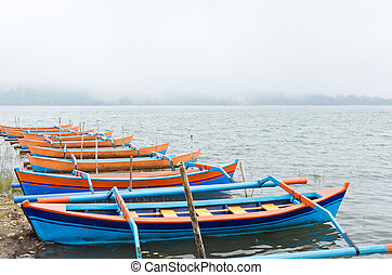 barcos, nebuloso, lago, lote