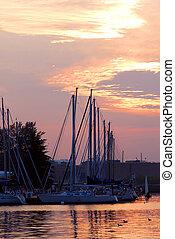 barcos, pôr do sol