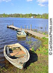 barcos pesca, e, cais, ligado, a, lake.