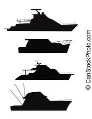 barcos pesca, em, silueta