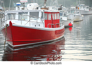 barcos pesqueros, en, puerto