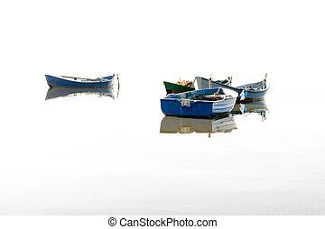 barcos pesqueros, vuelo, en, el, water.