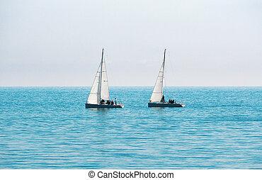 barcos, regata, velejando
