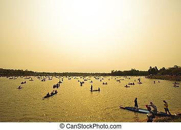 barcos, rio, pôr do sol, pesca
