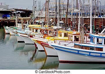barcos, san, muelle, pescador, pesca, francisco