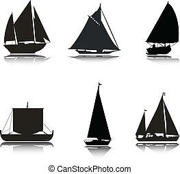 barcos, silhuetas, vetorial