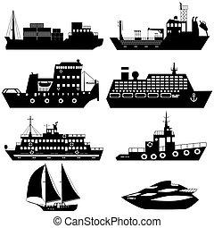 barcos, siluetas, barcos