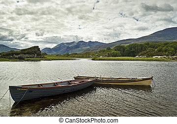 barcos, superior, lago, killarney