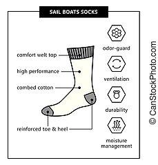 barcos, vela, calcetines