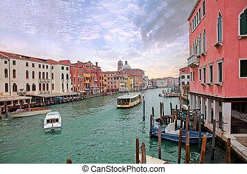 barcos, venecia, canal, navegación, magnífico