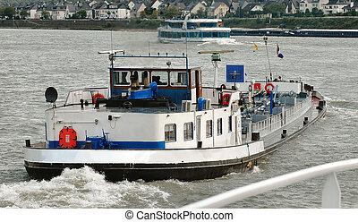 barcos, viaje, barcaza, y