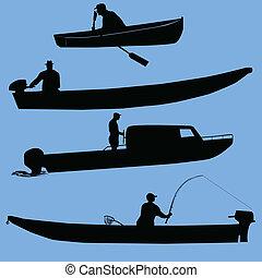 barcos, y, gente