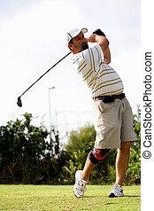 bardziej golfowy, kolano, brace.
