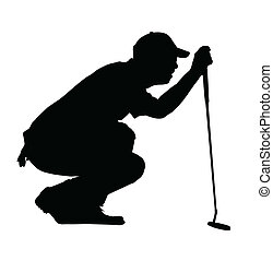 bardziej golfowy, sylwetka, -, golf, sport, klęczący