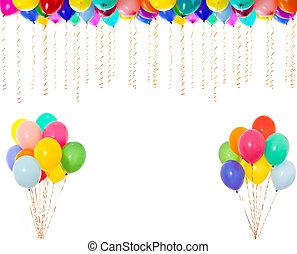 bardzo, rozkład, odizolowany, wysoki, biały, barwny, balony