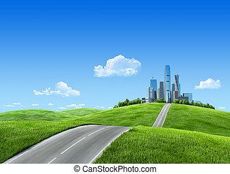 bardzo, szczegółowy, 7000px, miasto, na, horyzont