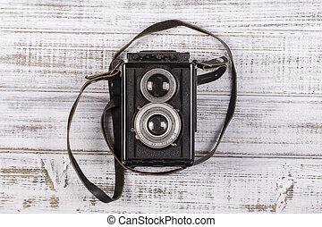 bardzo, zamknięcie, aparat fotograficzny, stary, do góry