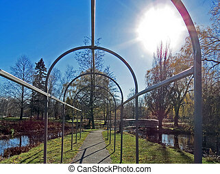 Bare Arbor - The arbor cleaned and painted in the autumn, ...