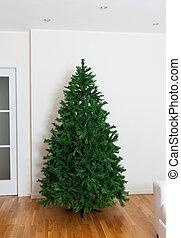 Bare artificial christmas tree