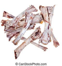 bare chicken bones isolated on white background