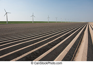 Bare farmland in the netherlands, waiting for spring - Bare...