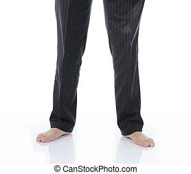 Bare feet businessman. - Bare feet businessman in a bright ...