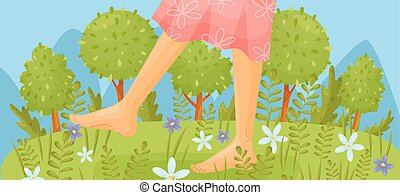 Bare feet in a pink dress are walking through the meadow. ...