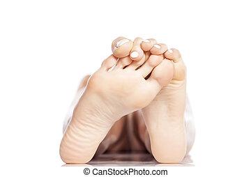 bare feet - female bare feet on white background