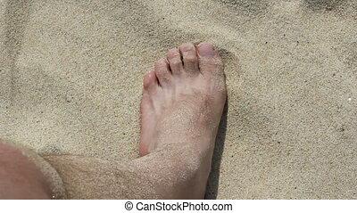 Bare foot on the sand beach. (1920x1080/30p, tripod)