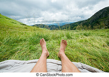 bare legs of a man outdoors