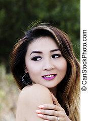 Bare Shoulder Outdoor Portrait Attractive Asian American Woman
