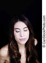 Bare Shoulder Portrait Latina Woman Eyes Closed